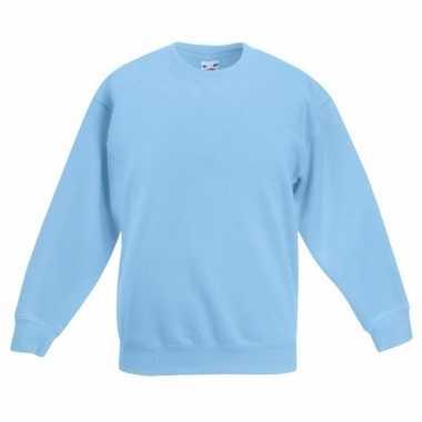 Lichtblauwe katoenmix sweater meisjes