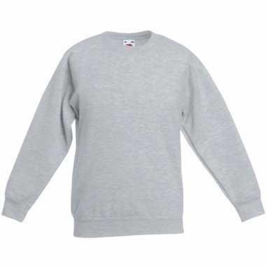 Lichtgrijze katoenmix sweater meisjes