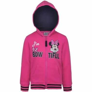 Minnie mouse sweater rits roze