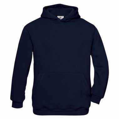 Navy blauwe katoenmix sweater capuchon j
