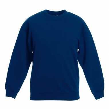 Navy blauwe katoenmix sweater meisjes