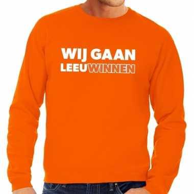 Nederland supporter sweater wij gaan leeuwinnen oranje heren