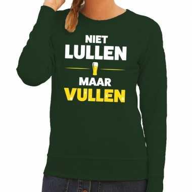 Niet lullen maar vullen tekst sweater groen dames