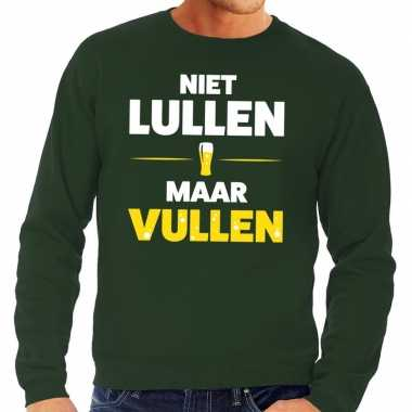 Niet lullen maar vullen tekst sweater groen heren