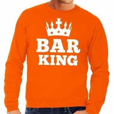 Oranje bar king kroontje sweater heren