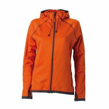 Oranje dames fleece jasje capuchon