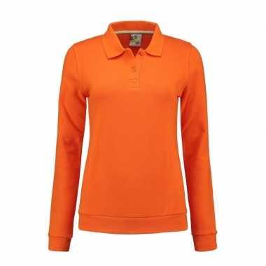 Oranje dames sweater polo kraag