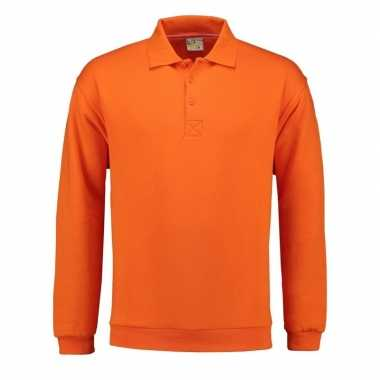 Oranje heren sweater polo kraag
