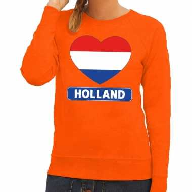 Oranje holland hart vlag sweater dames