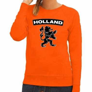 Oranje holland zwarte leeuw sweater dames