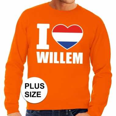 Oranje i love willem grote maten sweater / trui heren