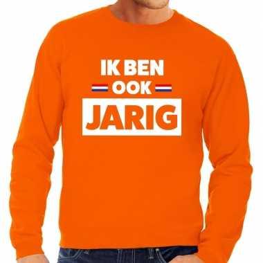 Oranje ik ben ook jarig sweater heren