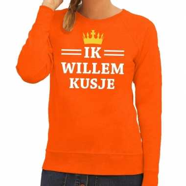 Oranje ik willem kusje sweater dames