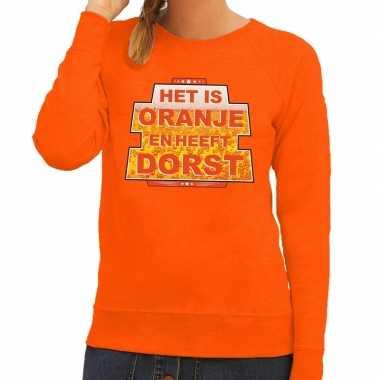 Oranje is oranje heeft dorst sweater dames