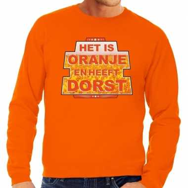 Oranje is oranje heeft dorst sweater heren