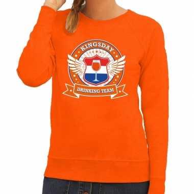 Oranje kingsday drinking team sweater dames