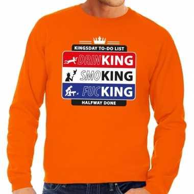 Oranje kingsday to do list sweater heren