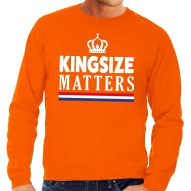 Oranje kingsize matters sweater heren