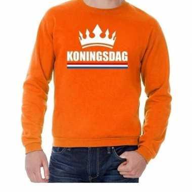 Oranje koningsdag een kroon sweater volwassenen