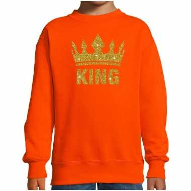 Oranje koningsdag gouden glitter king sweater kinderen