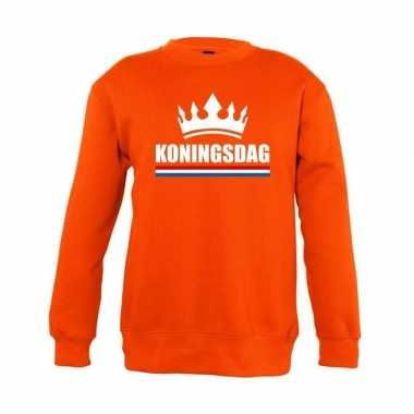 Oranje koningsdag kroon sweater kinderen
