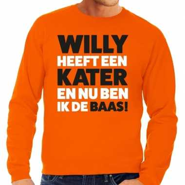 Oranje koningsdag willy heeft een kater sweater heren
