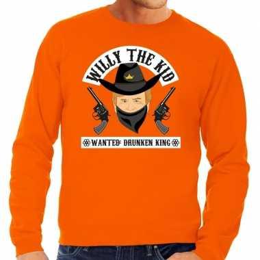 Oranje koningsdag willy the kid sweater heren