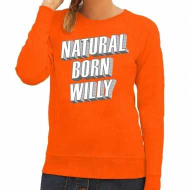 Oranje natural born willy sweater dames