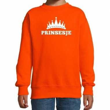 Oranje prinsesje kroon sweater meisjes