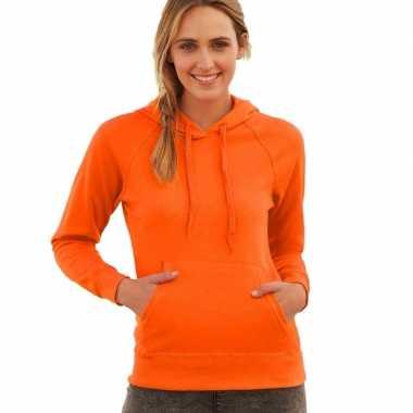 Oranje sweater/hoodie capuchon dames