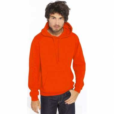 Oranje sweater/trui hoodie heren