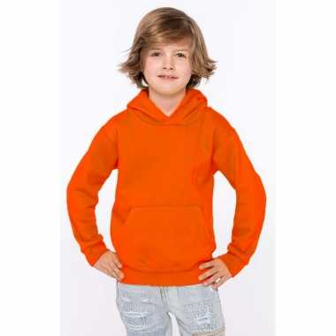 Oranje sweater/trui hoodie jongens
