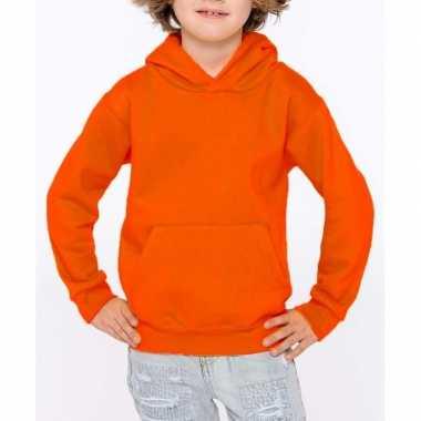 Oranje sweater/trui hoodie meisjes