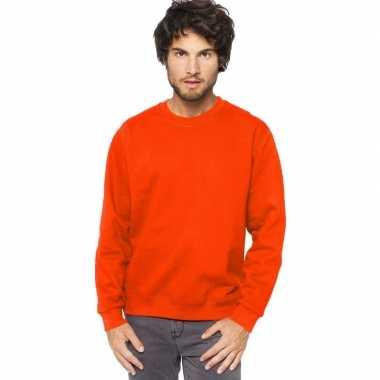 Oranje sweater/trui katoenmix heren