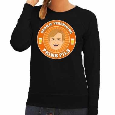 Oranje vereniging prins pils sweater zwart dames