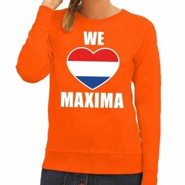 Oranje we love maxima sweater dames