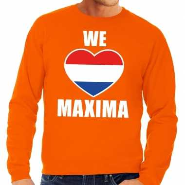 Oranje we love maxima sweater heren