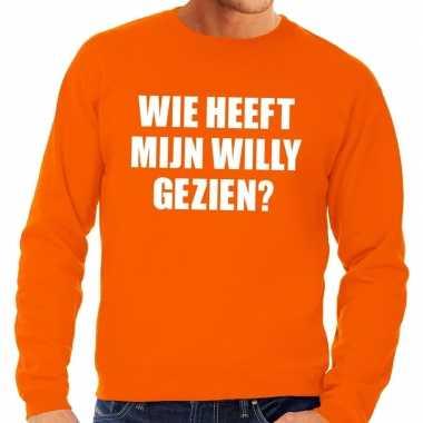 Oranje wie heeft mijn willy gezien sweater heren