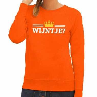 Oranje wijntje kroontje sweater dames