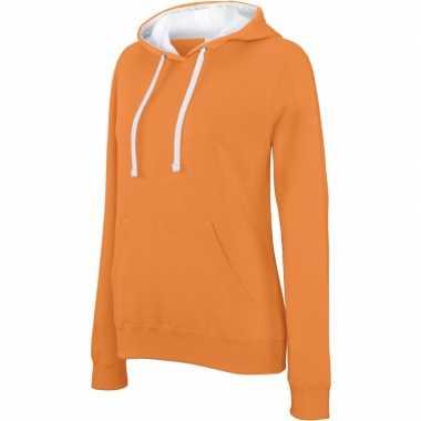 Oranje/witte sweater/trui hoodie dames