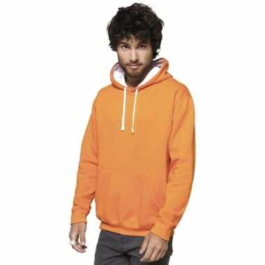 Oranje/witte sweater/trui hoodie heren
