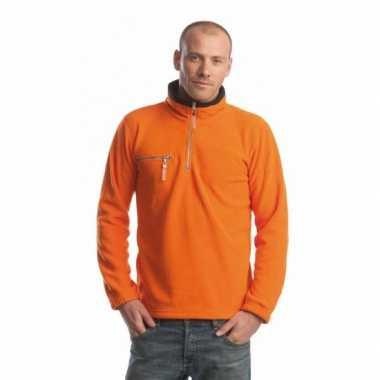 Oranje zwarte fleece trui volwassenen