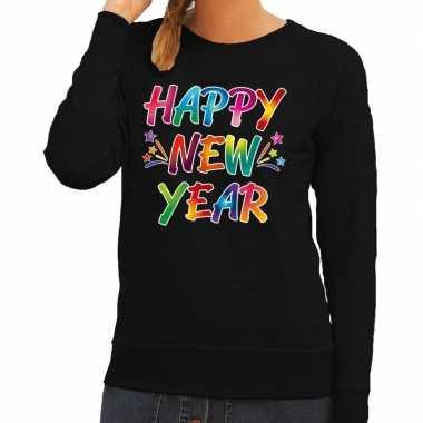 Oud nieuw trui / sweater happy new year zwart dames