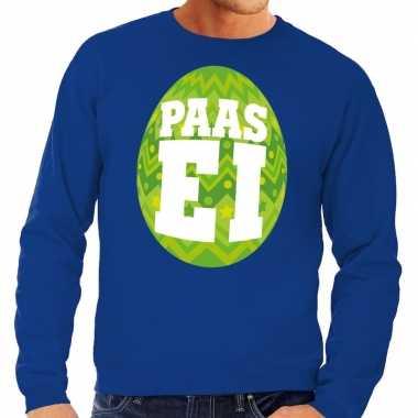 Paas sweater blauw groen ei heren