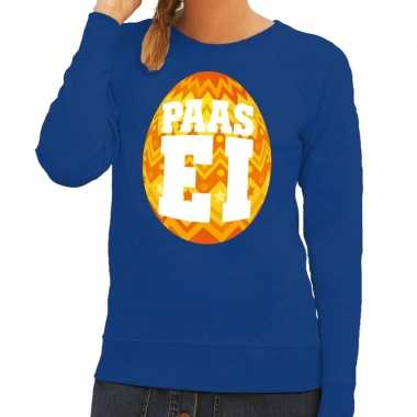 Paas sweater blauw oranje ei dames
