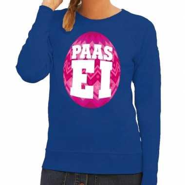 Paas sweater blauw roze ei dames