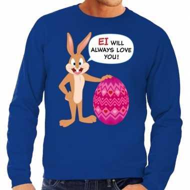 Paas sweater ei will always love you blauw heren