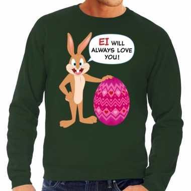 Paas sweater ei will always love you groen heren