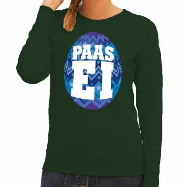 Paas sweater groen blauw ei dames