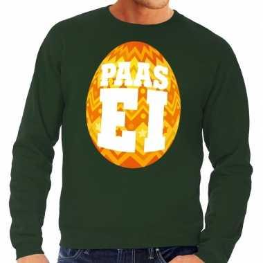 Paas sweater groen oranje ei heren